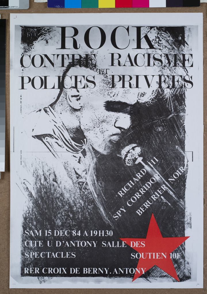 Affiche du concert Rock contre le racisme et police privées, courtesy Collection François Guillemot