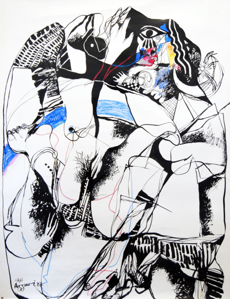 Dia Al-Azzawi Gilgamesh 1 - Enkido meets the Great Courtisane 1987. Mixed media on paper on canvas 160 x 120 cm.