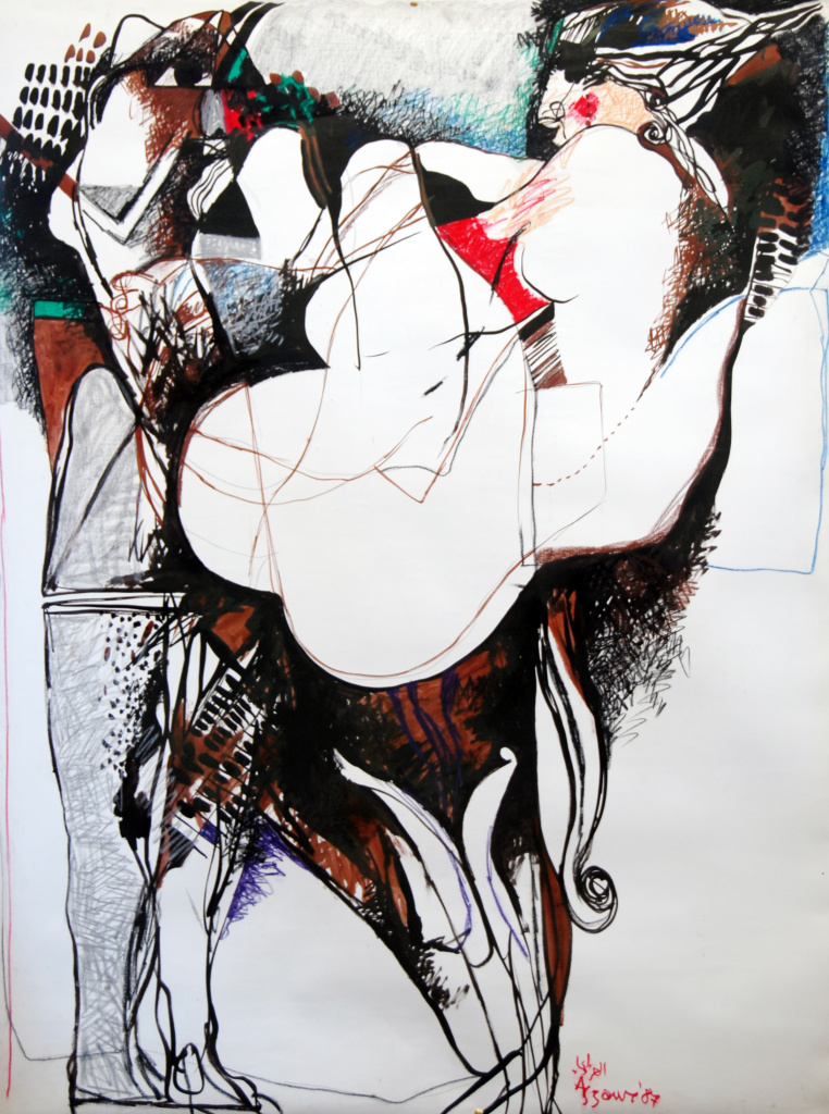 Dia Al-Azzawi Gilgamesh 2 - Enkido enters the forest of the body 1987. Mixed media on paper on canvas 160 x 120 cm.