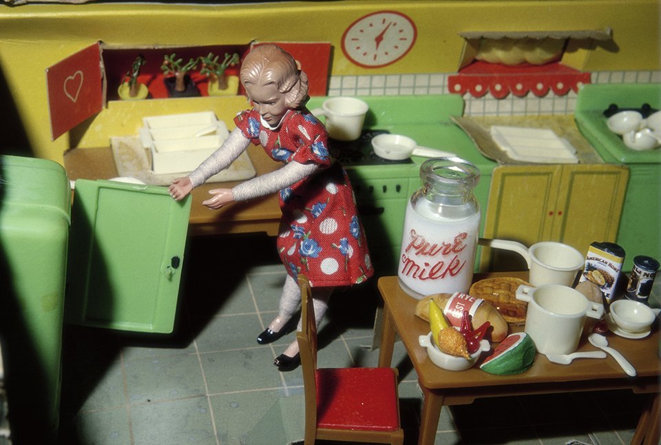 Laurie Simmons, Woman Opening Refrigerator / Milk to the Right, 1979.