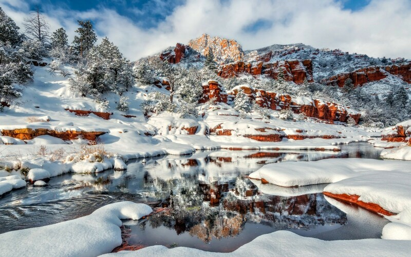 Winter Oak Usa Nature Arizona Snow Creek Canyon Arrives Reflection Grand River Picture