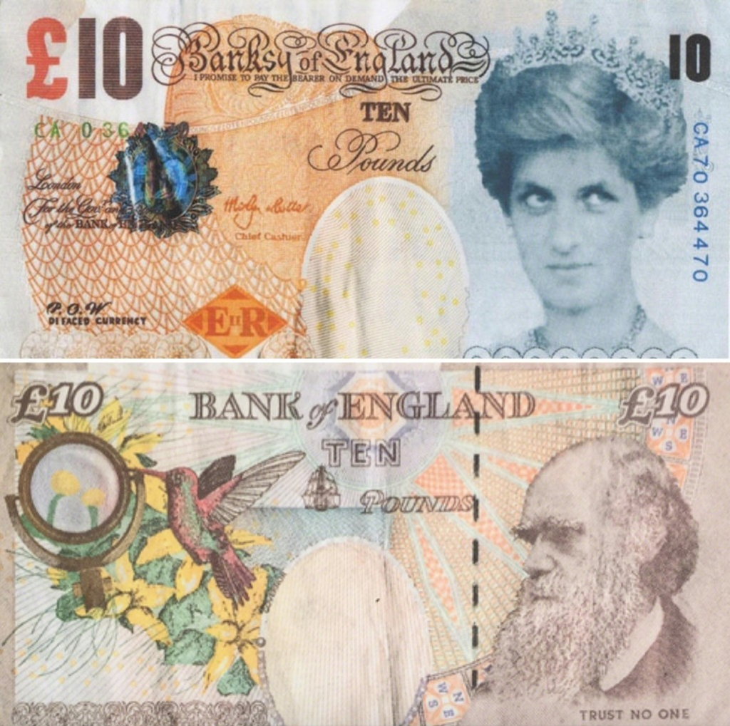 Banksy, Di-faced Tenner (2004). Courtesy of Pest Control Office
