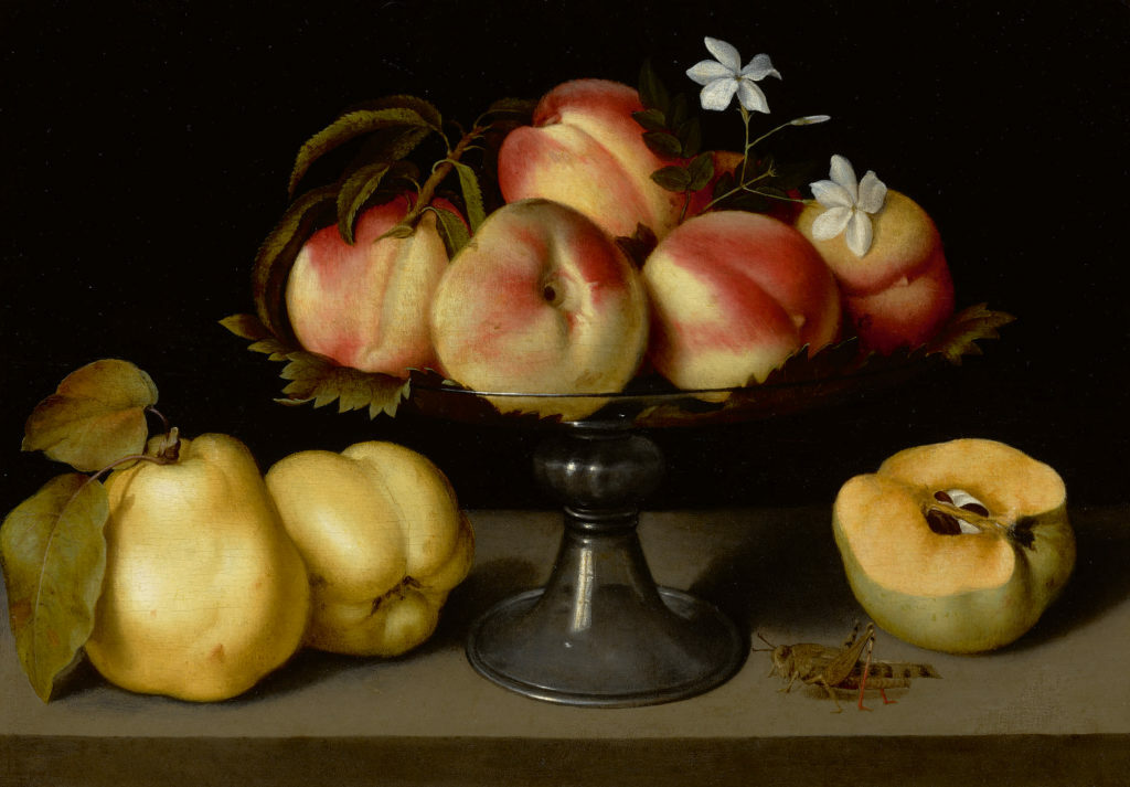 Fede Galizia's Glass Compote with Peaches, Jasmine Flowers, Quinces, and Grasshoppe