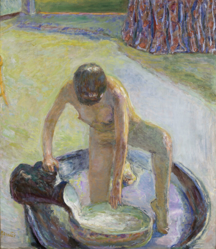 Pierre Bonnard- Nude Crouching in the Tub 1918