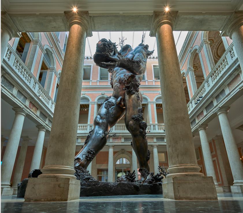 Damien Hirst. Demon With Bowl (Exhibition Enlargement) (2014) installed in the Palazzo Grassi. Photo courtesy of the Palms Casino Resort, Las Vegas