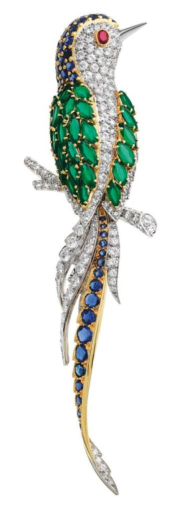 Bird clip in platinum, yellow gold, sapphires, ruby, emeralds, diamonds