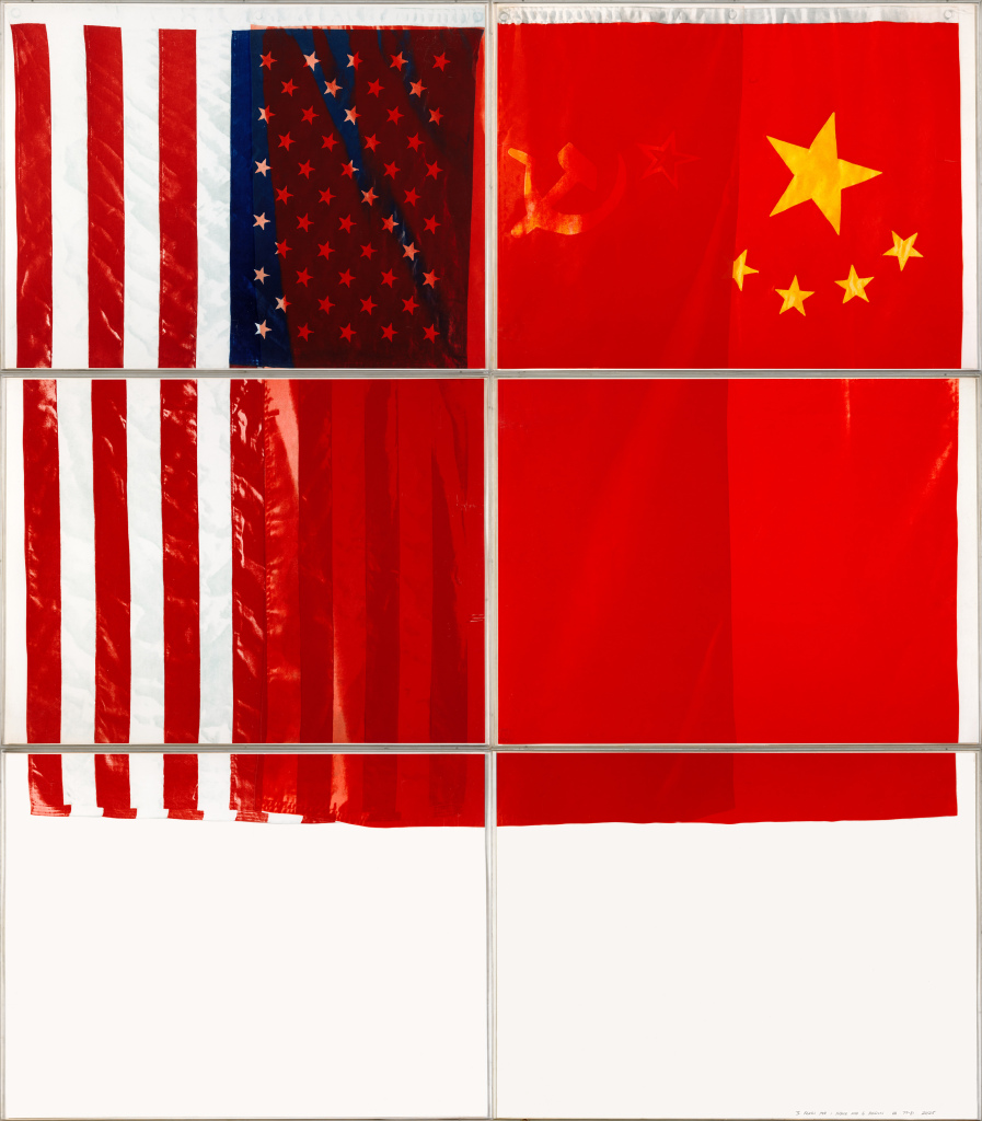Vito Acconci (1940/2017)) Three Flags for one Space and six Regions, 1979/1981, photogravure