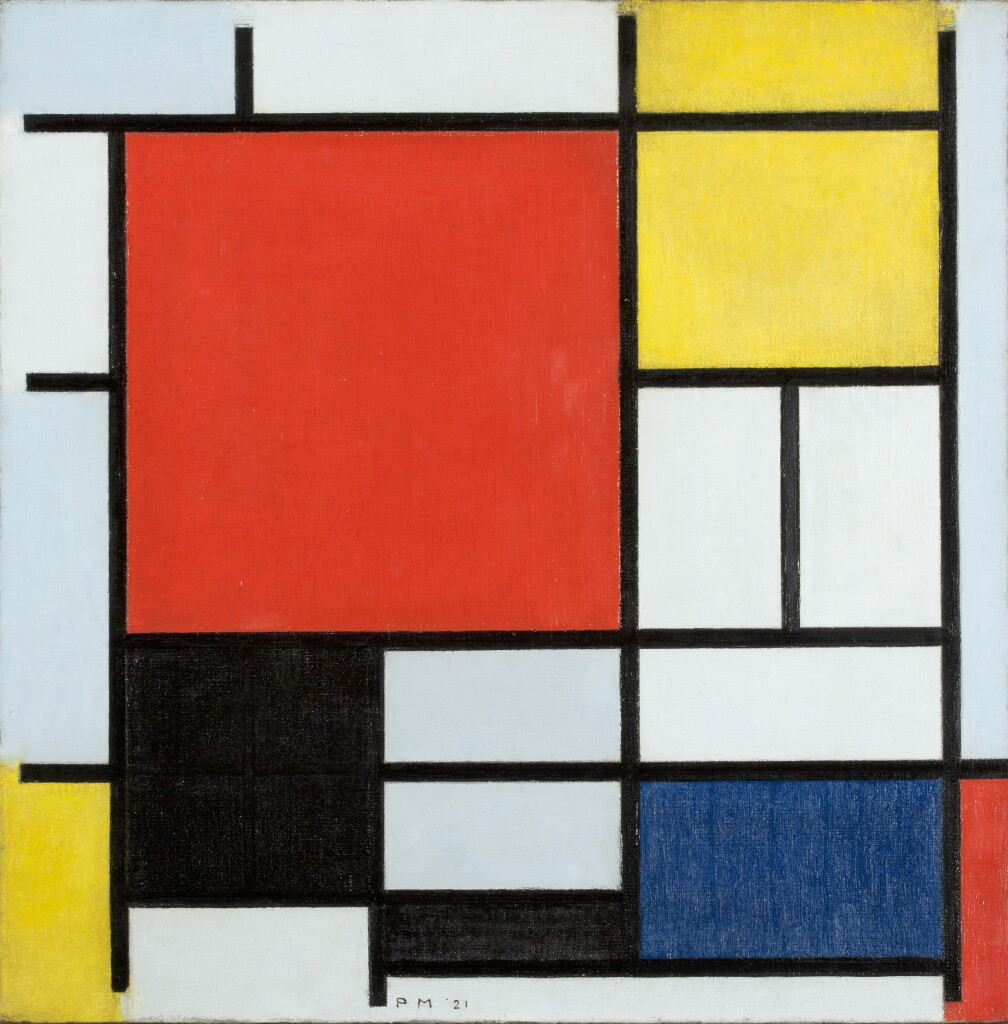 Piet MONDRIAN Composition with Large Red Plane 1921 Huile sur toile	 59,5 x 59,5 cm © Kunstmuseum Den Haag