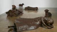 "Kiki Smith, Women with Sheep (Three Women, Three Sheep), 2009, bronze, overall installation dimensions variable, 30-1/2"" x 13"" x 42"" (77.5 cm x 33 cm x 106.7 cm), standing sheep, 22-1/2"" x 40"" x 15"" (57.2 cm x 101.6 cm x 38.1 cm), resting sheep, 34"" x 82"" x 39"" (86.4 cm x 208.3 cm x 99.1 cm), woman with sheep, 17-3/4"" x 84"" x 47"" (45.1 cm x 213.4 cm x 119.4 cm), woman with arms extended, 18"" x 78"" x 53"" (45.7 cm x 198.1 cm x 134.6 cm), woman with arm behind head unique, SCULPTURE, No. 49832, format of original photography: digital"