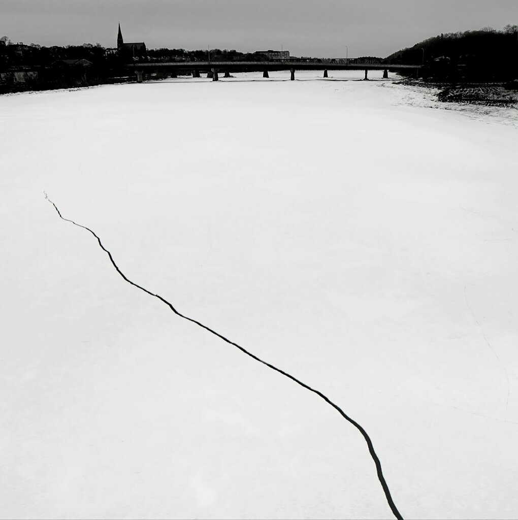 """Ice Crack in a Frozen River"" Bangor, Maine, USA, 2016"