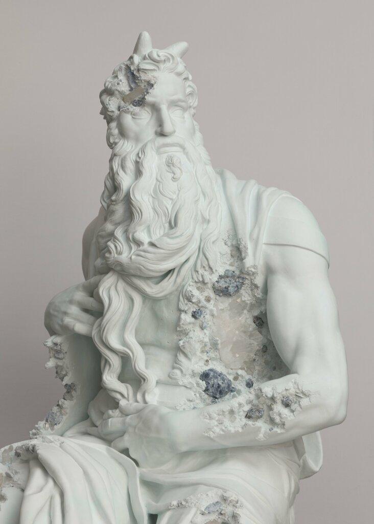 Galerie Perrotin - Daniel Arsham - Blue Calcite Eroded Moses
