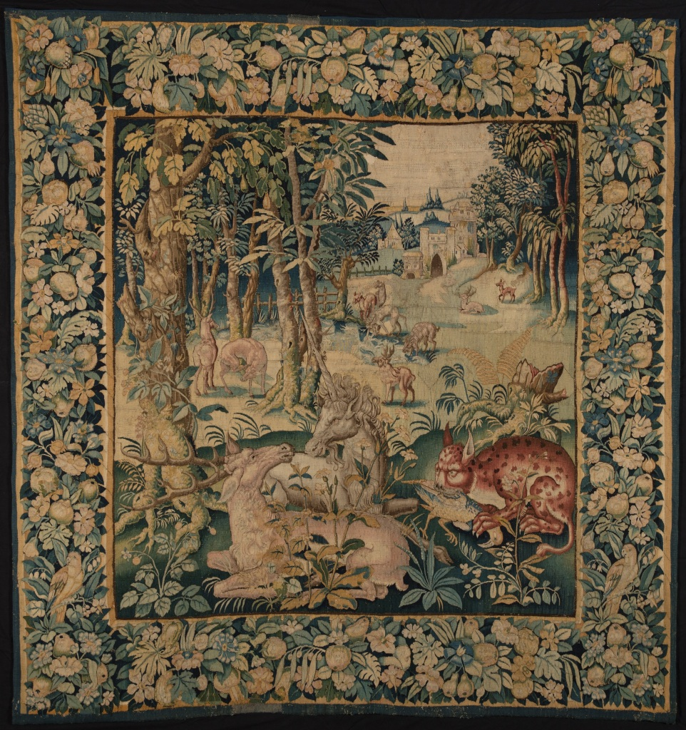 Unicorn tapestry with deer and cat