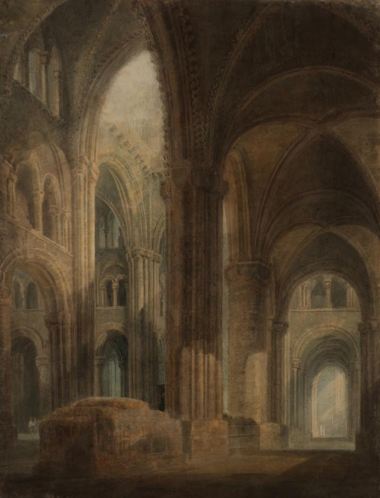 Turner, Cathédrale de Durham Intérieur, vue vers l'est le long de l'aile sud