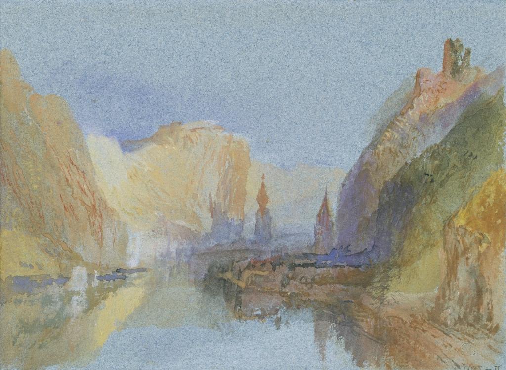 Turner, Dinant, Bouvignes et Crèvecoeur coucher de soleil
