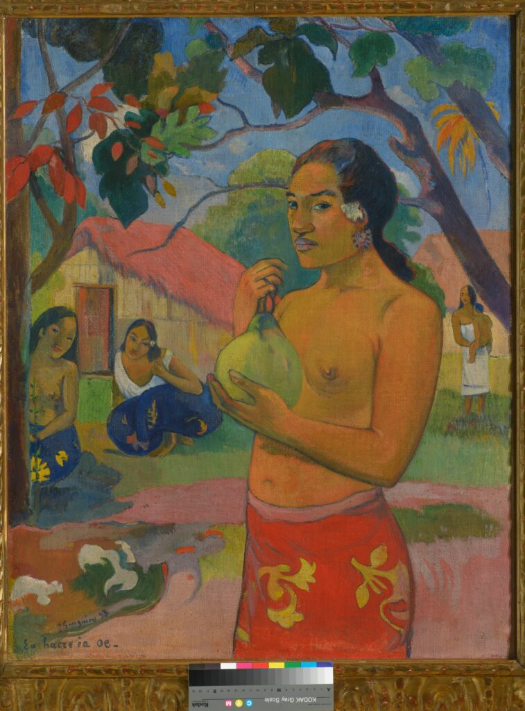 Paul Gauguin, Eü haere ia oe (Où vas-tu ?) La Femme au fruit, Tahiti, 1893