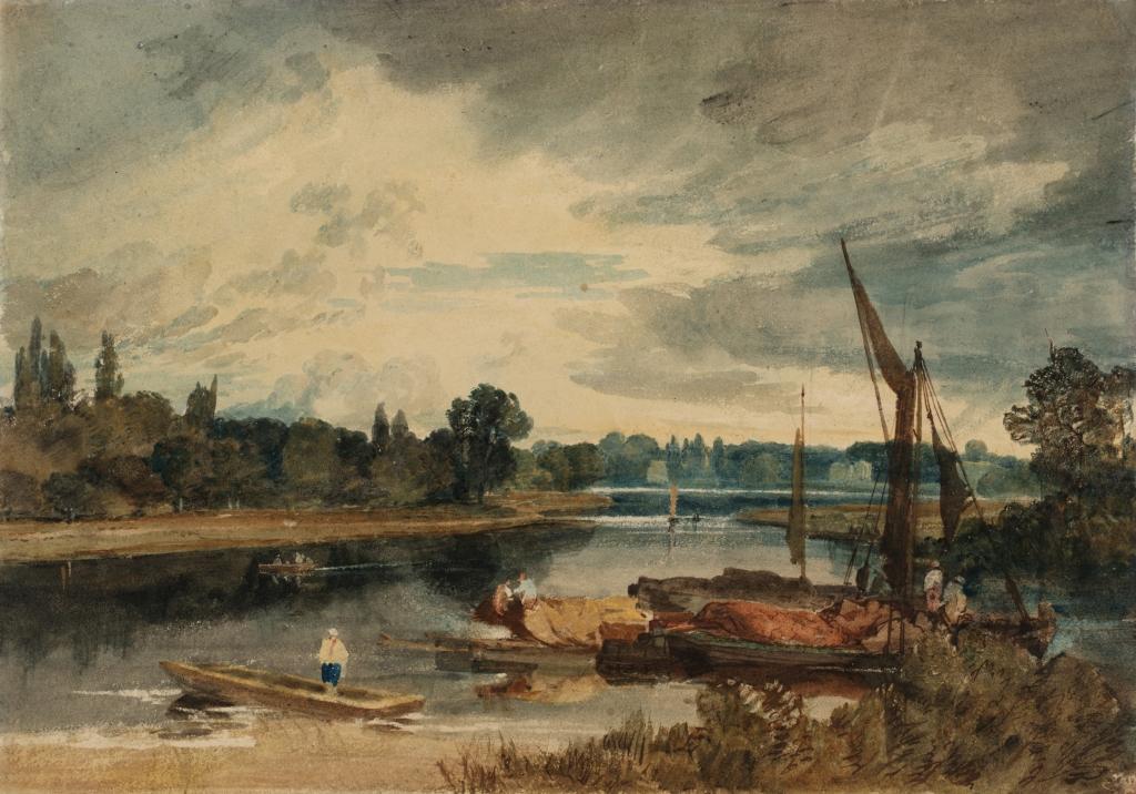 La Tamise près d'Isleworth barque et péniches au premier plan Turner