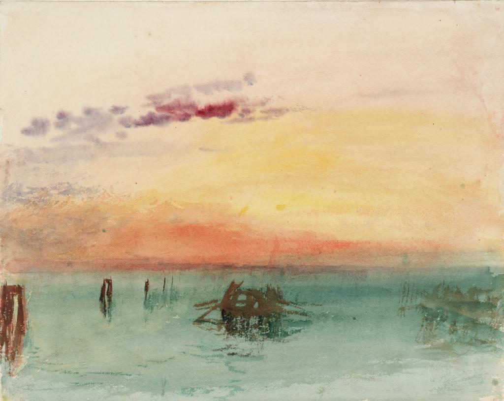 Turner, Venise Vue sur la lagune au coucher du soleil
