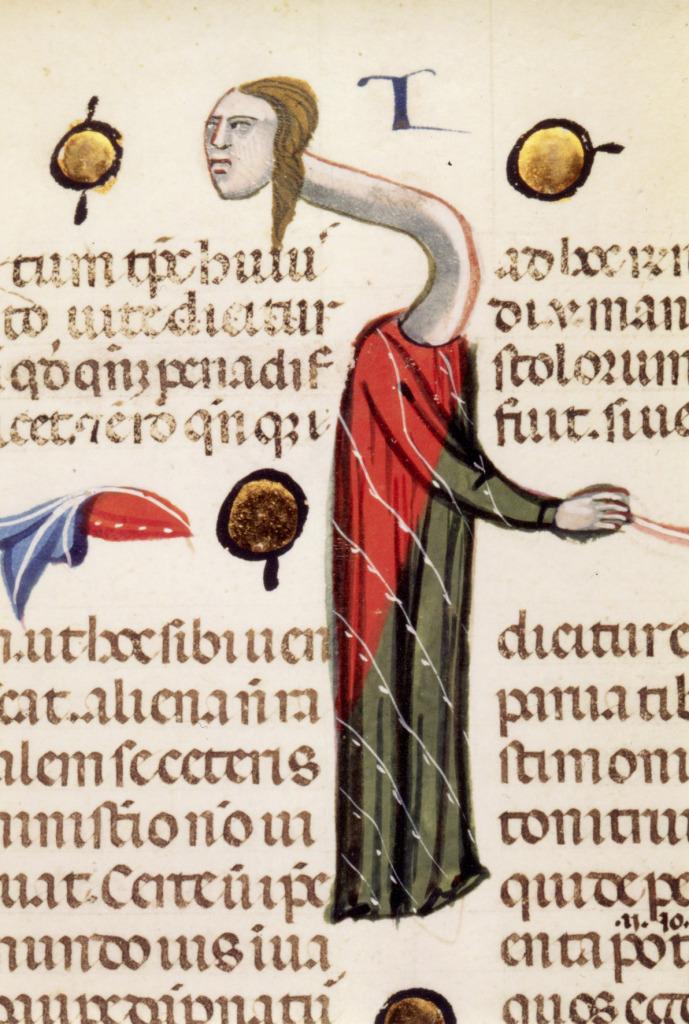 Trop goulue : la femme girafe, Gratien,Décret, Italie, XIVe siècle, Lyon