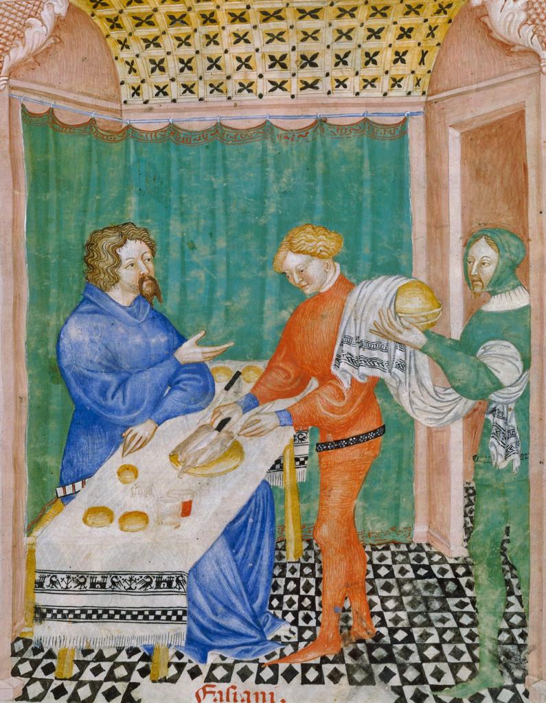 Nappe et serviette de service à liteaux,Ibn Butlan,Tacuinum sanitatis