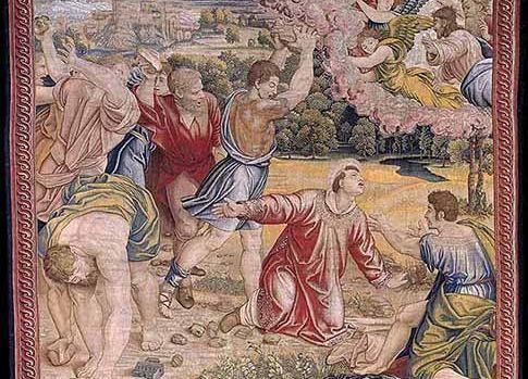 L'une des tapisseries de Raphaël dépeint la «Lapidation de saint Étienne», scène des Actes des Apôtres