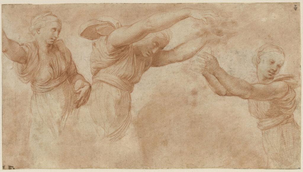 Raffaello Santi, dit Raphaël - Trois femmes drapées, vues à mi-corps: études pour les Heures jetant des fleurs dans le Banquet des dieux aux noces d'Amour et de Psyché