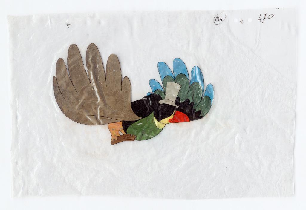 Dessin sur un support celluloïd du film d'animation français « Le Roi et l'oiseau » de Paul Grimault