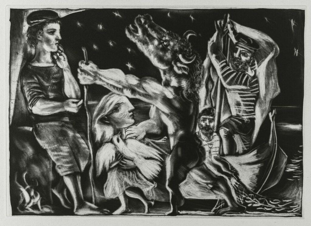 Picasso, Suite Vollard, série Le Minotaure Aveugle guidé par une petite fille dans la nuit (97)