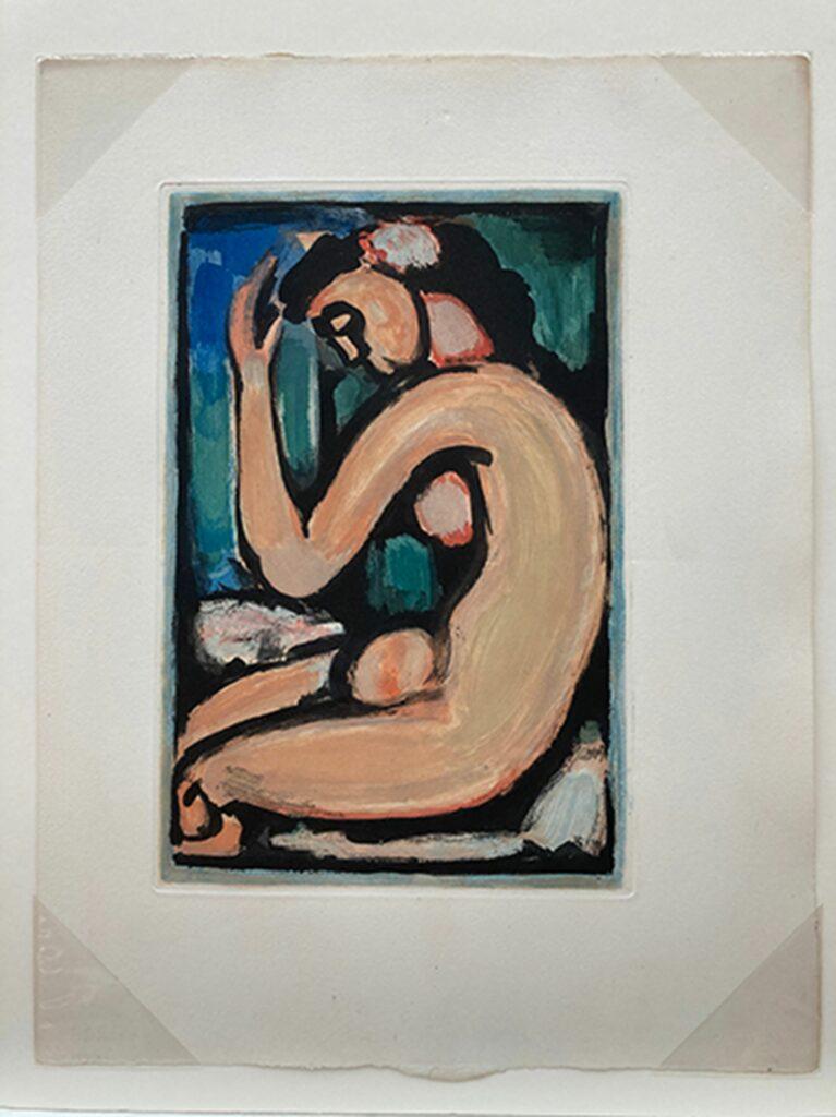 Rouault, Femme, nu de profil, planche pour les Fleurs du Mal (Couleurs)