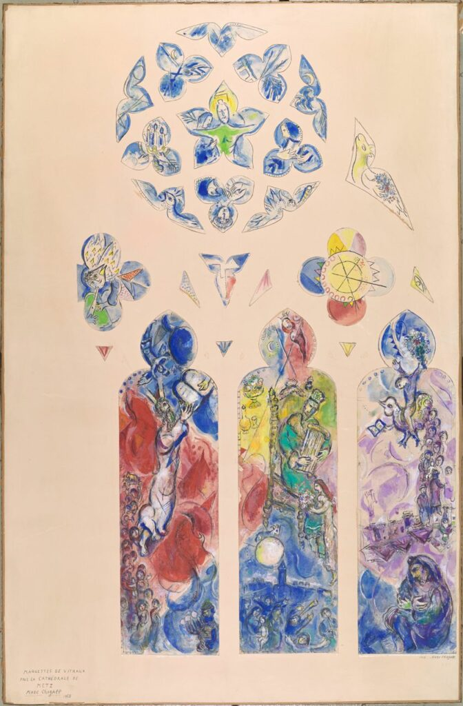 Marc Chagall, Projet de vitrail pour l'abside nord de la cathédrale de Metz, Moïse, David et Jérémie, 1958