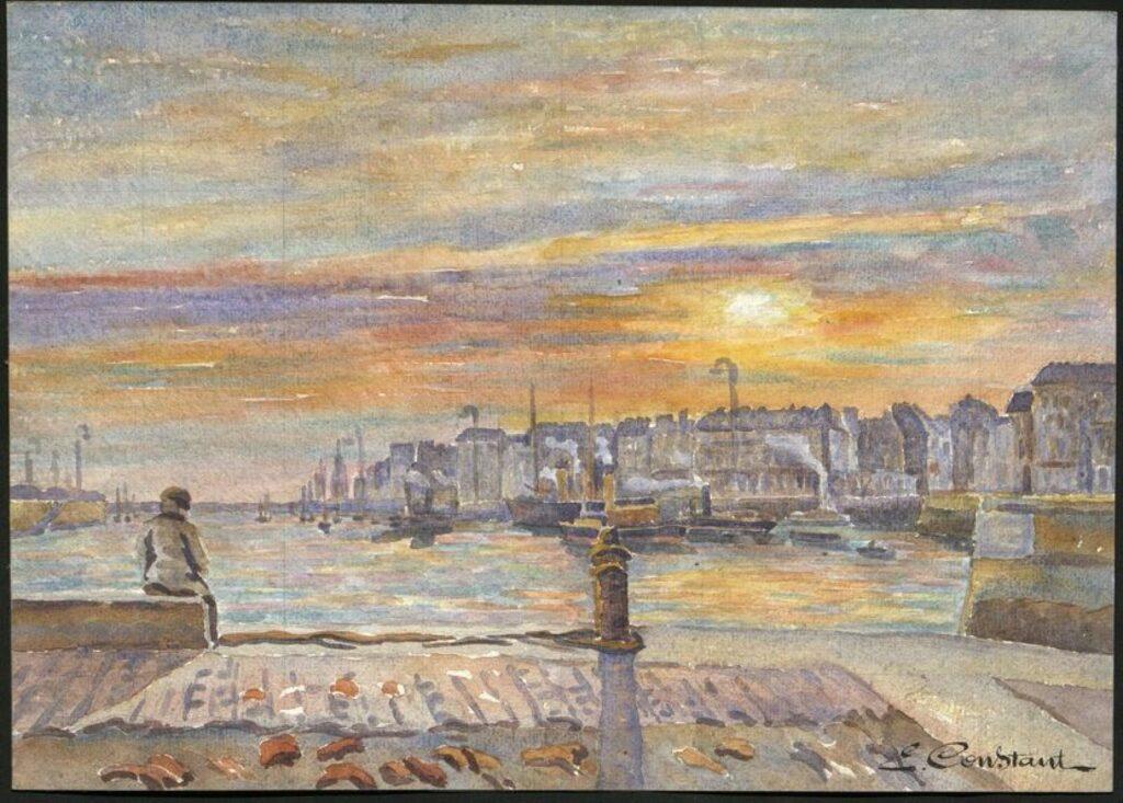 Exposition ÉMILE CONSTANT, Le Havre une autre ville à l'Hôtel Dubocage de Bléville, Avant-port au soleil couchant– E. Constant