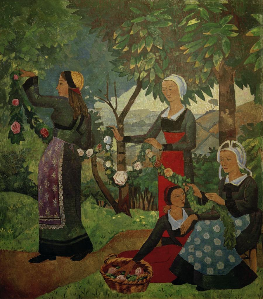 """Exposition Folklore - Sérusier, Paul 1864–1927. """"La guirlande de roses"""", 1898. Huile sur toile, 194 × 175 cm."""