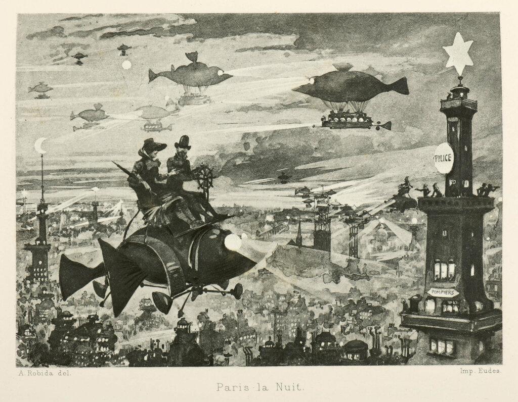 Albert Robida, Paris la Nuit, le xxe siecle, 1880