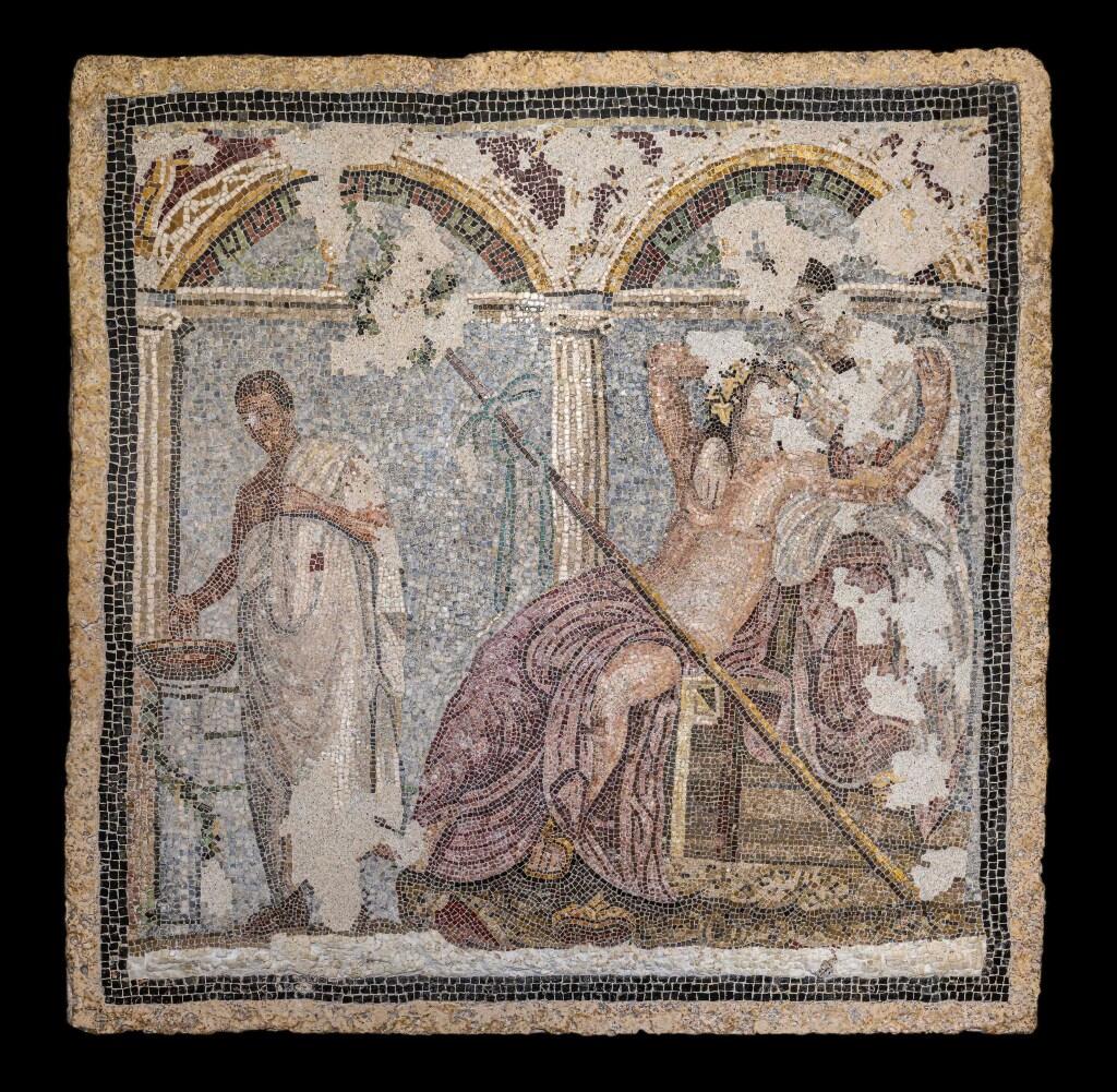 Panneau mosaïque en opus vermiculatum, Dionysos et Ariane avec offrande mosaïque