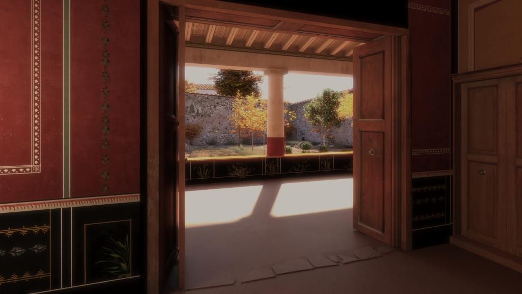 Reconstitution maison Pompéi, vue triclinium vers jardin