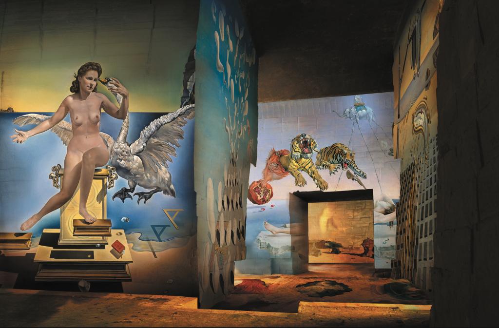 Vue de l'exposition Dalí, l'énigme sans fin aux Carrières de Lumières