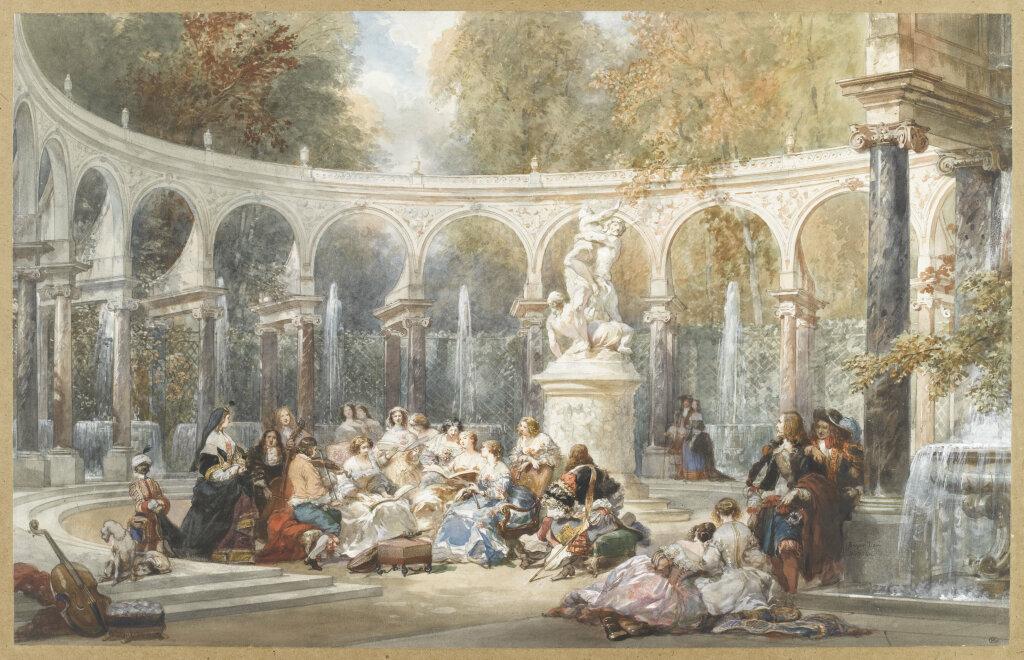 Eugène Lami, Réunion dans le bosquet de la colonnade à Versailles