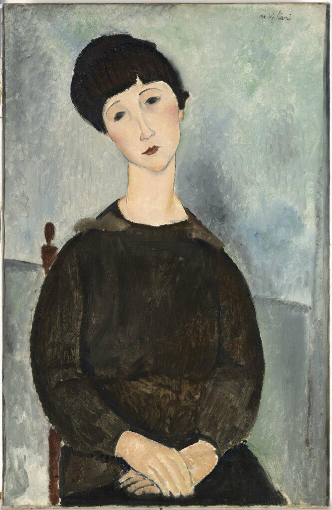 Modigliani, La chevelure noire, dit aussi Jeune fille brune assise