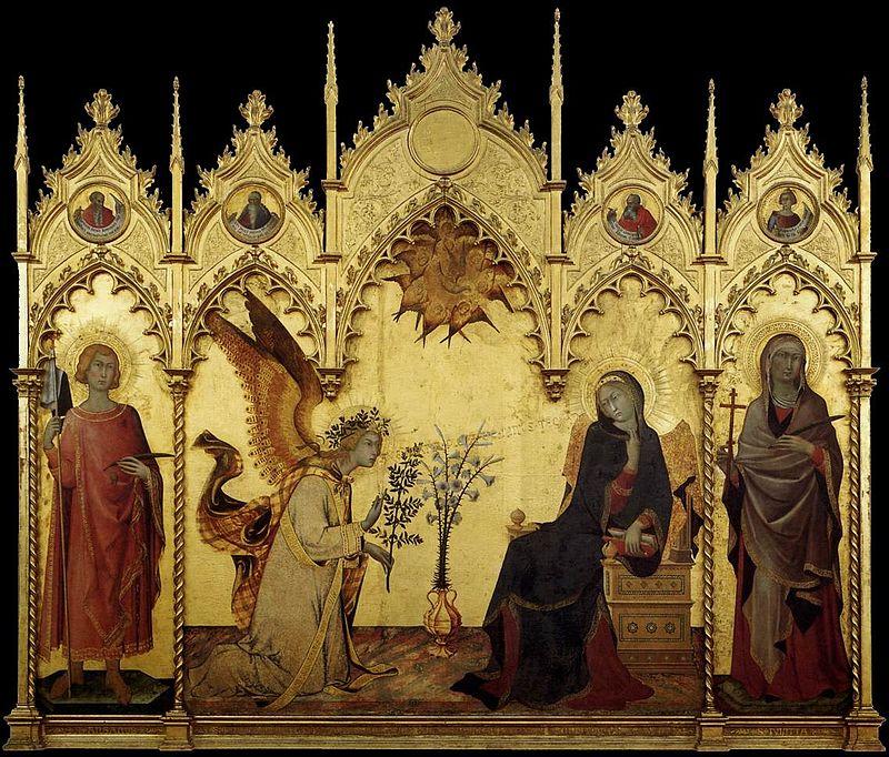 Tempera sur bois - Simone Martini, L'Annonciation, Galerie des Offices.