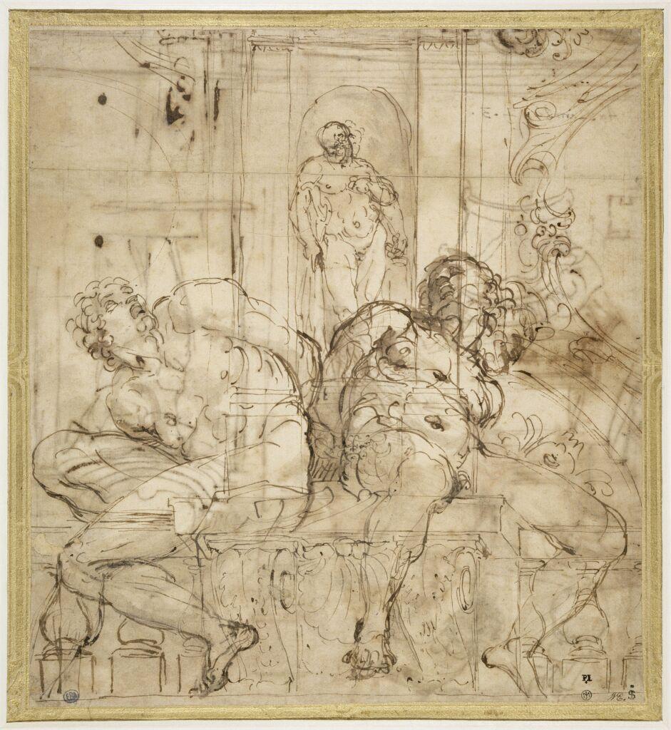 Annibal Carrache Deux esclaves sous l'Hercule Farnèse
