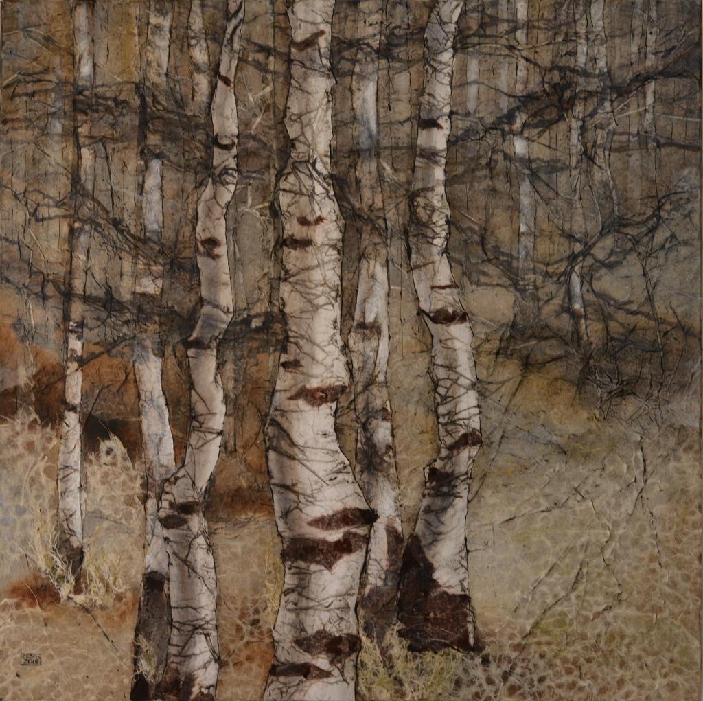CLOOS, Christine, 070 Bouleaux n°70, peinture à l'huile et collage de papiers divers sur toile de lin