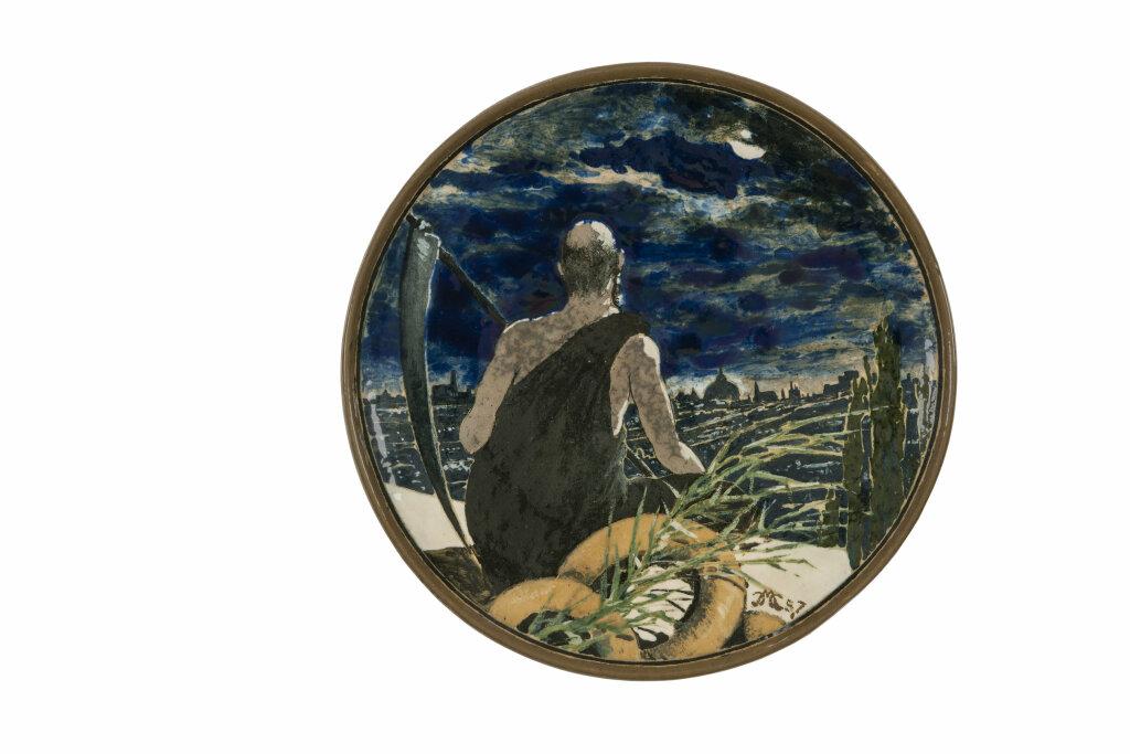 Camille Moreau-Nélaton, Plat Paysage citadin, 1887, Terre de Bourg-la-Reine, décoration en barbotine sous émail