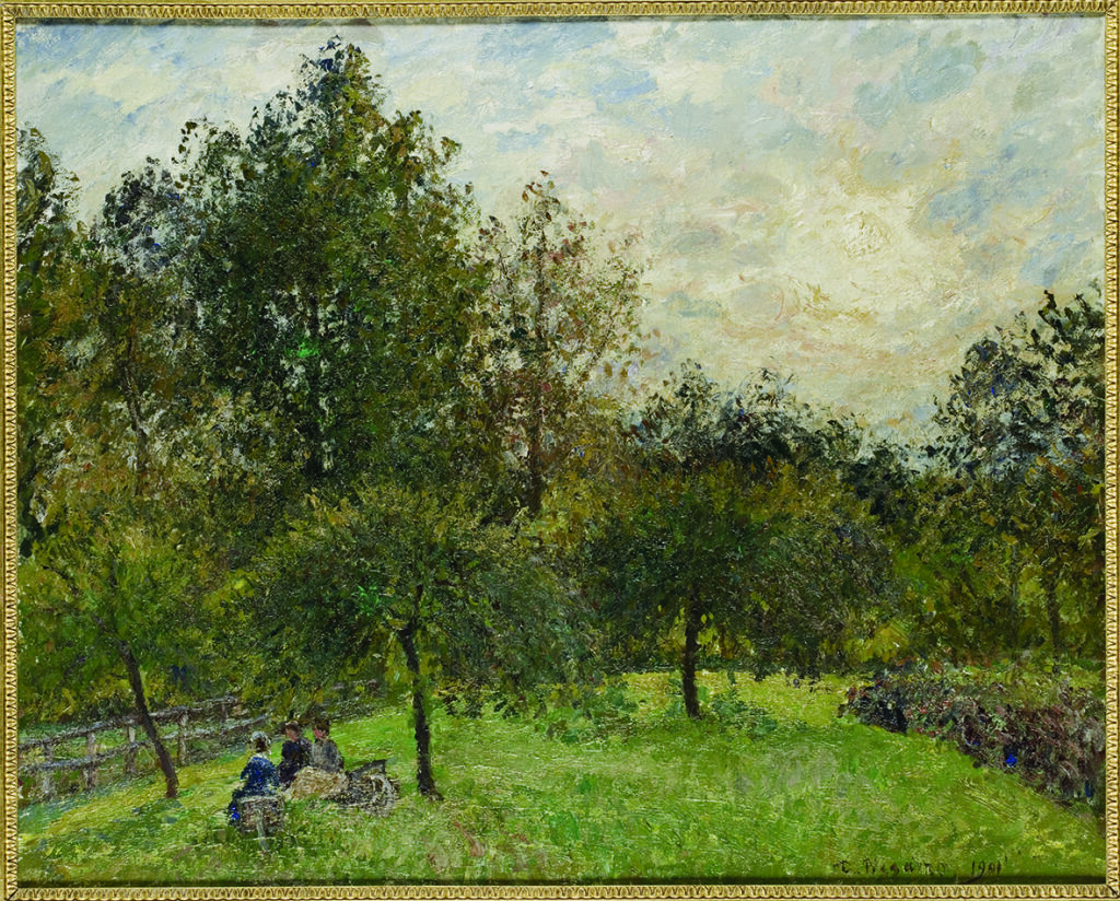 Camille Pissarro, Pommiers et peupliers au soleil couchant
