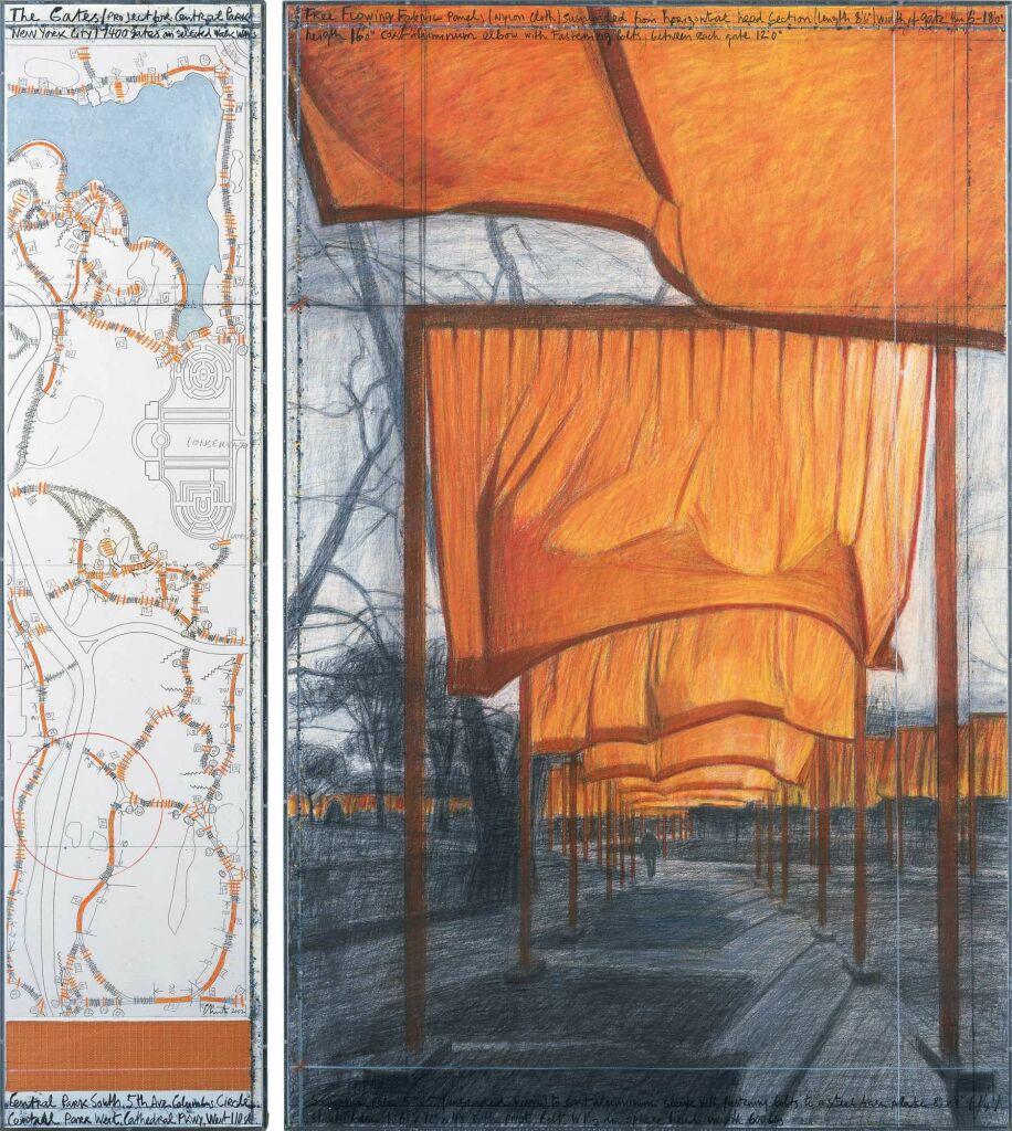 CHRISTO The Gates, Project for Central Park, New York City 1979-2005 2002 Dessin en deux parties : crayon de papier, fusain, pastel, crayon de cire, peinture-émail, carte géographique et tissu