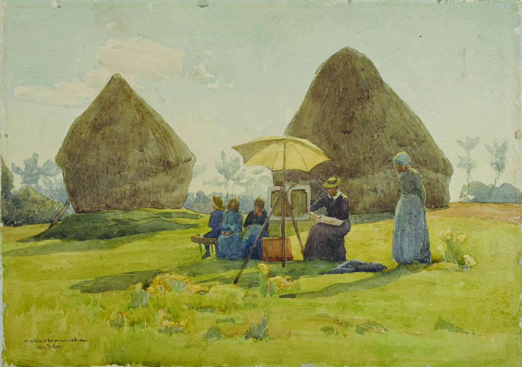Duhem Henri - La famille Duhem peignant dans un champ- Douai