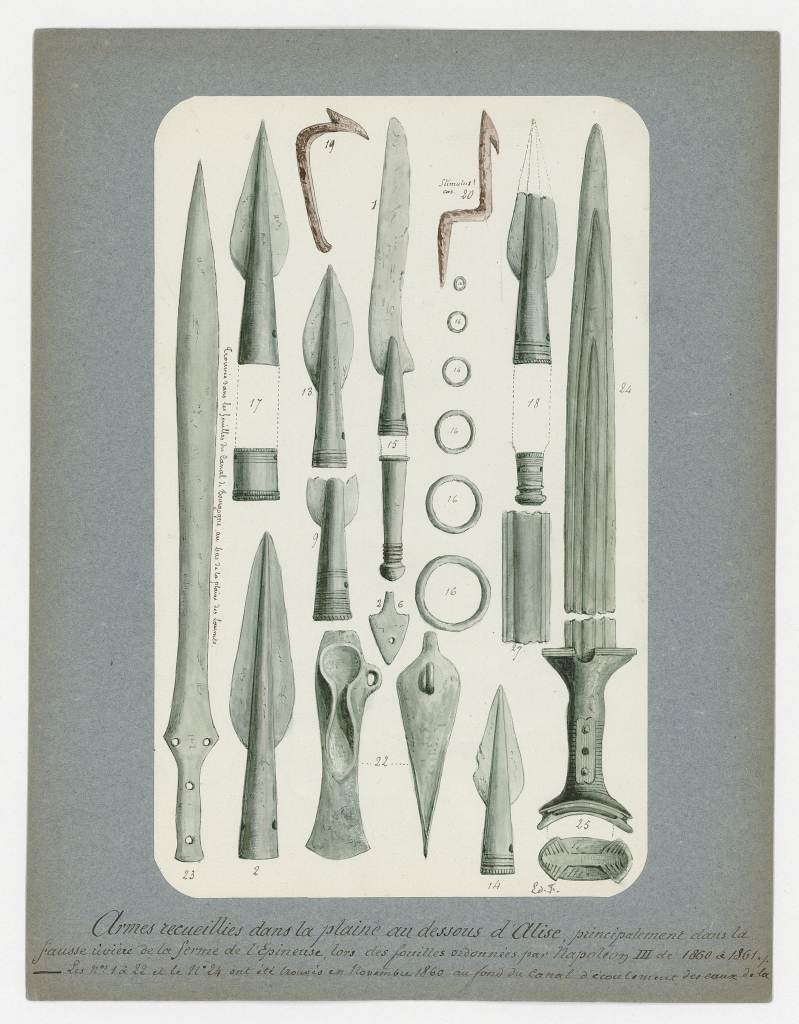 Edouard Flouest, Planche représentant les objets trouvés aux Laumes