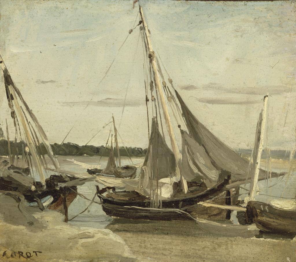 Exposition Musée des Impressionnismes - Corot, Trouville, bateaux de pêche échoués dans le chenal