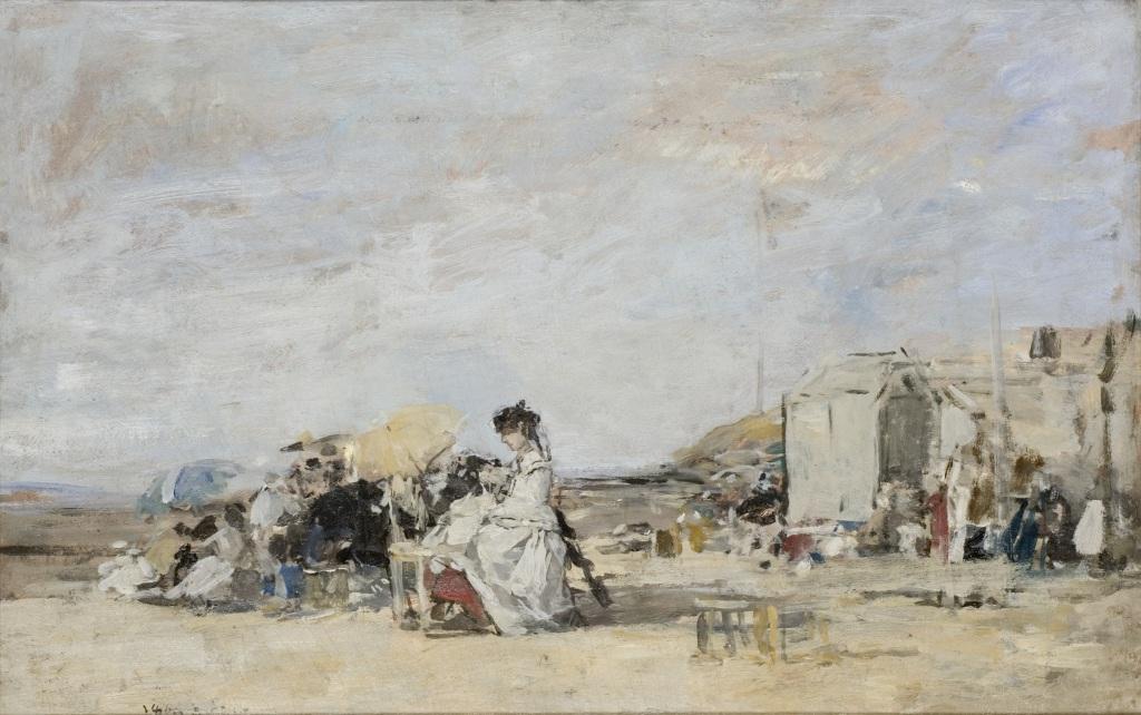 Exposition Musée des Impressionnismes - Eugène Boudin, Dame en blanc sur la plage de Trouville
