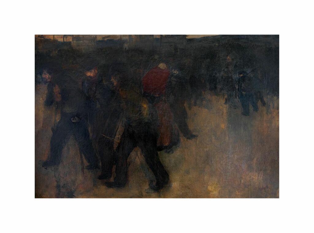 Henri EVENEPOEL, Travailleurs retournant du travail au crépuscule, 1897