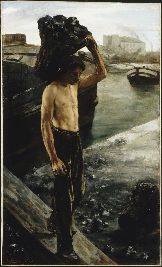 Henri GERVEX, Le Quai de la Villette à Paris ou Le Coltineur de charbon, 1882, Huile sur toile.