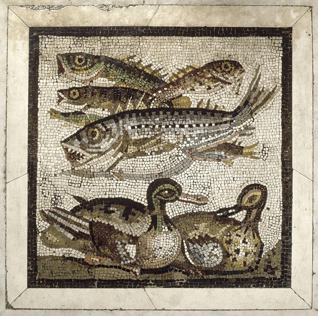 Mosaique aux poissons et canards